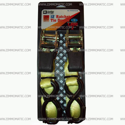 tiedown set, 1 inch x 12 foot ratchet straps, 2PK