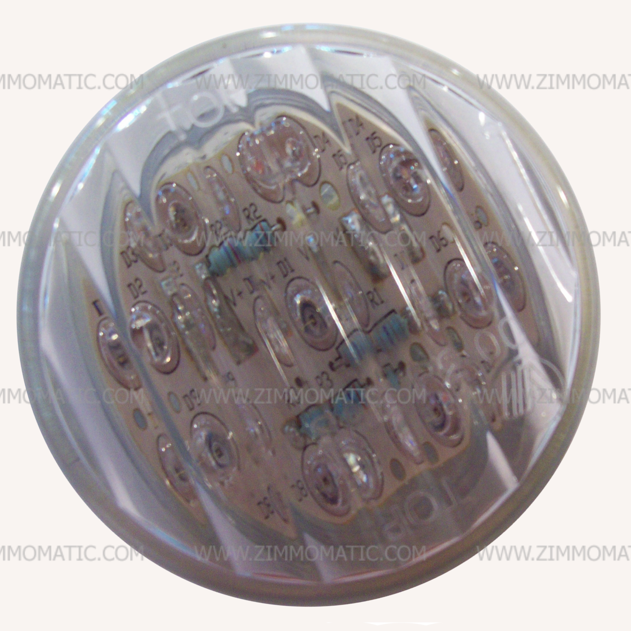light, 2 inch clear lens, red LED